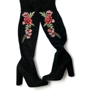 Steve Madden Floral Embroidered Over the Knee Boot